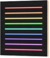Neon Tube Light Pack Isolated On Black Wood Print