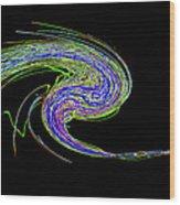 Neon Twirl Wood Print