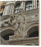 Neptune And The Lion Atop The Giants Staircase Wood Print