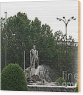 Neptune Fountain In Madrid Wood Print