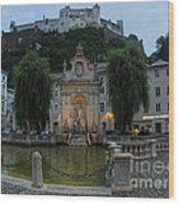 Neptune Fountain In Salzburg Austria Wood Print