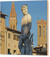 Neptune Statue - Florence Wood Print
