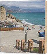 Nerja Beach In Spain Wood Print