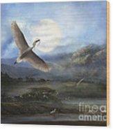 Nesting Egrets Wood Print