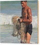 Net Fisherman In Tulum Wood Print