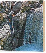 Net Fishing In Bulkley River In Moricetown-british Columbia-canada Wood Print