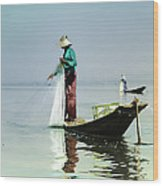 Net Fishing On Inle Lake Wood Print
