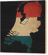 Netherlands Grunge Map Outline With Flag Wood Print