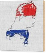 Netherlands Painted Flag Map Wood Print