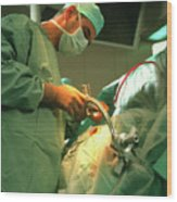 Neurosurgeon Performing Brain Biopsy Wood Print
