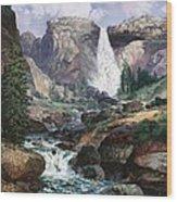 Nevada Falls Rendition By W Scott Fenton Wood Print by W  Scott Fenton