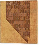 Nevada Word Art State Map On Canvas Wood Print