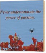 Never Underestimate The Power Of Passion Wood Print