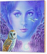 New Age Owl Girl Wood Print