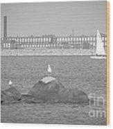 New Bedford Massachusetts Black White Wood Print