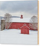 New England Barns Square Wood Print