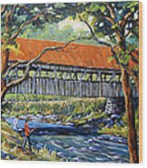New England Covered Bridge By Prankearts Wood Print by Richard T Pranke