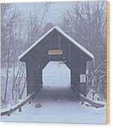 New England Covered Bridge In Winter Wood Print