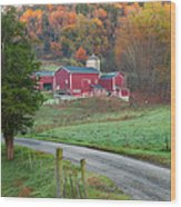 New England Farm Square Wood Print