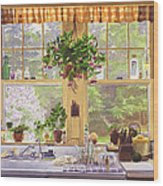 New England Kitchen Window Wood Print