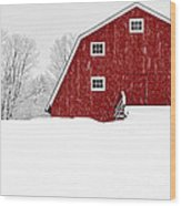 New England Red Barn In Winter Snow Storm Wood Print