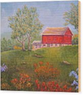 New England Red Barn Summer Wood Print