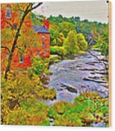 New England Stream In Fall Wood Print
