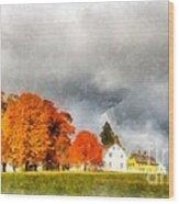 New England Village Wood Print
