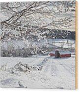 New England Winter Farms Wood Print
