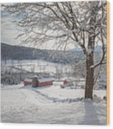 New England Winter Farms Morning Wood Print