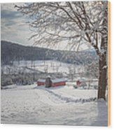 New England Winter Farms Morning Square Wood Print