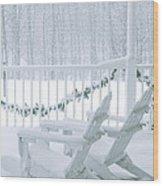 New England Winter Porch Wood Print