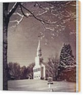 New England Winter Village Scene Wood Print by Thomas Schoeller