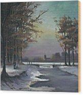 New England Winter Walk Wood Print by Cecilia Brendel
