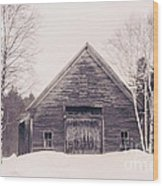 New Hampshire Barn In Black And White Wood Print