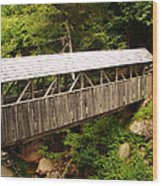 New Hampshire Covered Bridge Wood Print by Ella Char
