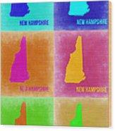 New Hampshire Pop Art Map 2 Wood Print