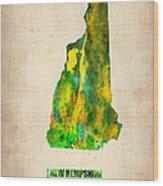 New Hampshire Watercolor Map Wood Print
