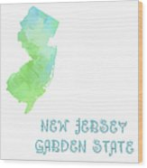 New Jersey - Garden State - Map - State Phrase - Geology Wood Print