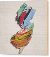 New Jersey Map Art - Painted Map Of New Jersey Wood Print