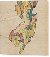 New Jersey Map Vintage Watercolor Wood Print