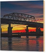 New Jersey Meadowlands Sunset Wood Print