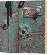 New Lock On Old Door 3 Wood Print