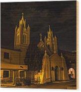 New Mexico Church Night Wood Print