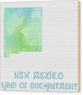 New Mexico - Land Of Enchantment - Map - State Phrase - Geology Wood Print