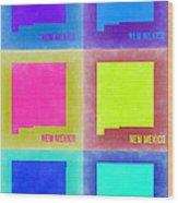 New Mexico Pop Art Map 2 Wood Print