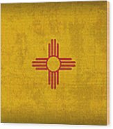 New Mexico State Flag Art On Worn Canvas Wood Print