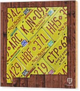 New Mexico State License Plate Map Wood Print