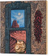 New Mexico Window Gold Wood Print