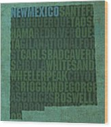 New Mexico Word Art State Map On Canvas Wood Print